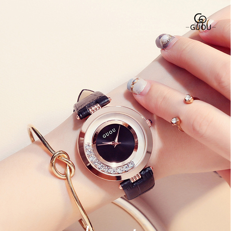 GUOU reloj de lujo del diamante señoras reloj mujeres Relojes de las mujeres de moda para mujer reloj mujer relogio feminino