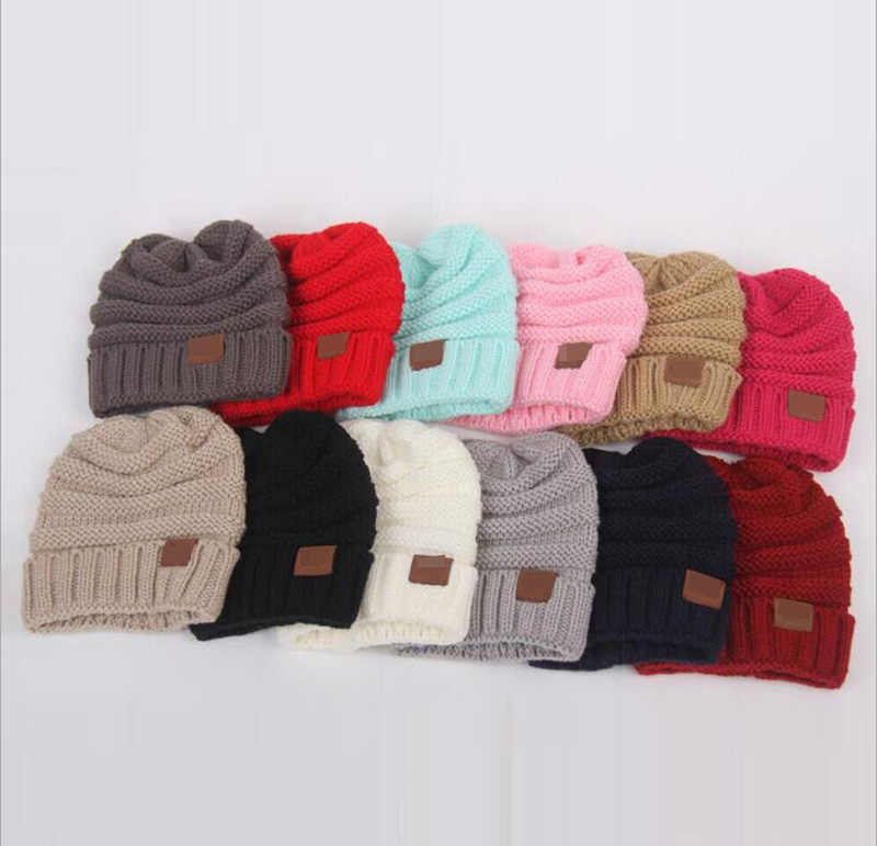 fcff10bec58205 ... Winter Hats For Kids CC Beanie Warm Hat Knit Beanies Slouchy Hats For Girls  Cute Boys ...