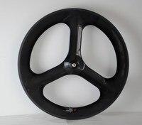 3k Glossy Full Carbon 700c 3 Spokes Front Clincher Wheel 88mm Rear Clincher Wheel Width 23mm