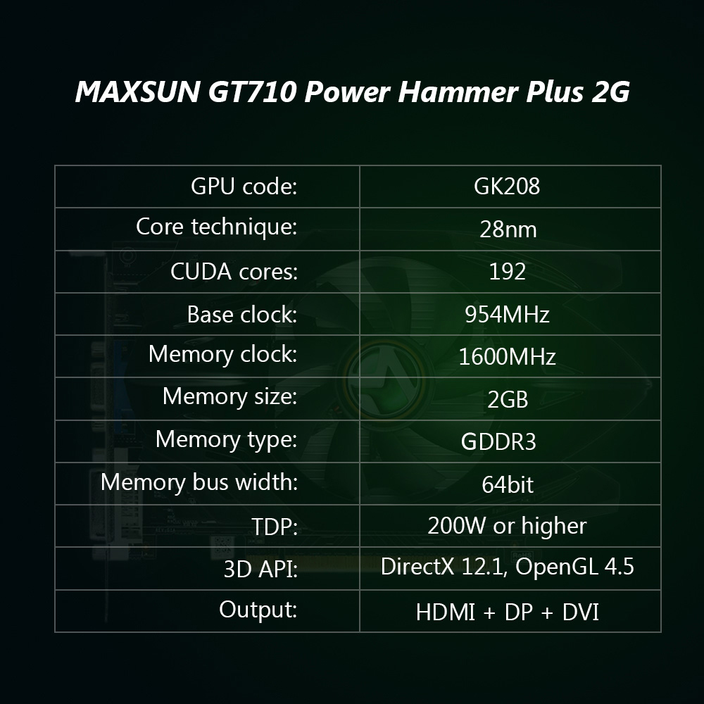 MAXSUN GeForce GT710 Power Hammer Plus 2G Gaming Video