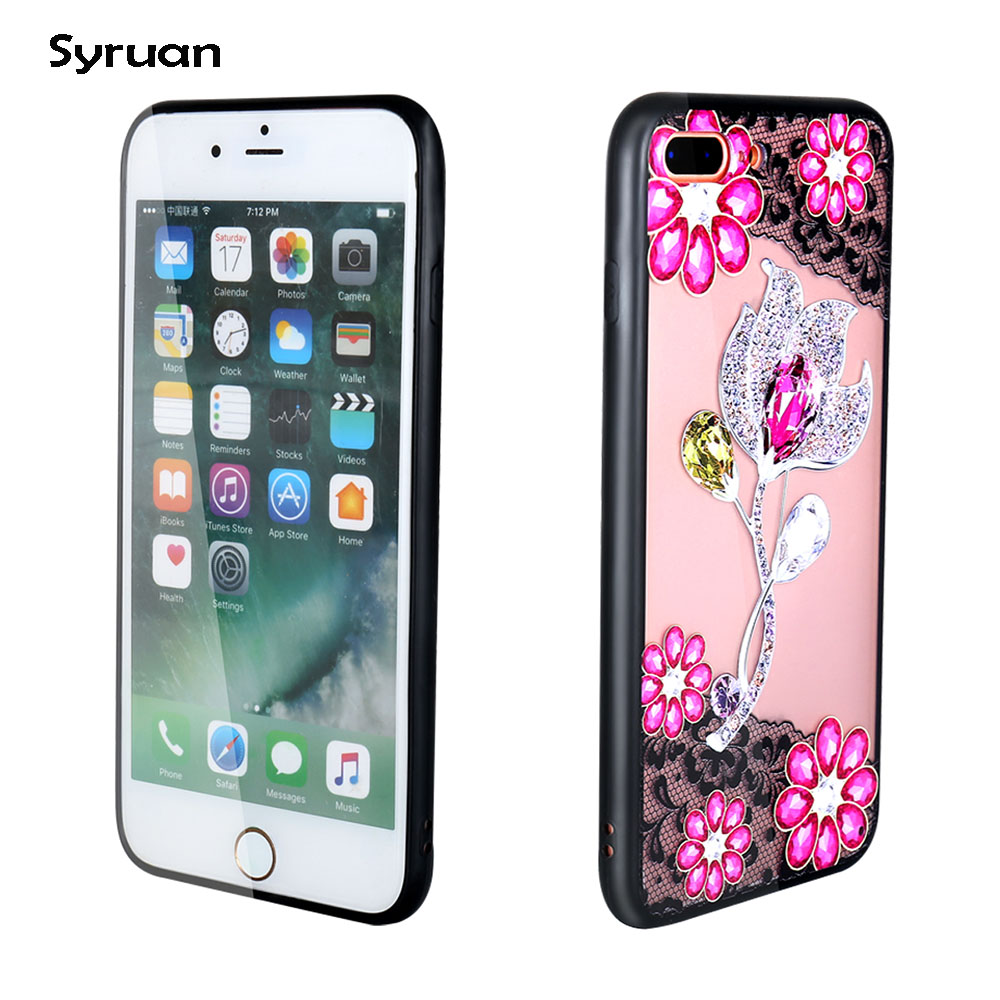 XS MAX Diamond Case on for Fundas iphone XS MAX Case 3D Lace flower diamond sFor Coque iphone XR XS X 8 7 6 6S Plus Case cover