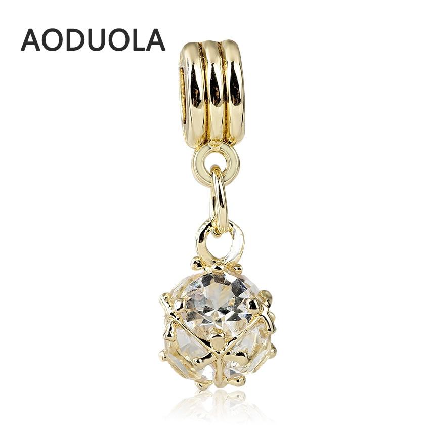 2PCS a lot Gold color Alloy Beads round CZ Pendant DIY Big Hole Metal Spacer Bead Charm Fit For Pandora Bracelet necklace Charms