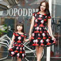 New Summer Style Family Matching Outfits Cartoon Mother and Daughter Printed Dresses Matching Mom Daughter Family Dress