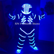 FZ003 LED light Robot men 4 colors choose dj disco Luminous costume clothes Shoes helmet ballroom