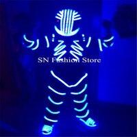 Fz003 свет робот Мужчины 4 вида цветов Выберите диско DJ Световой костюм одежда Обувь шлем Бальные DJ Танцы штанге музыка Show