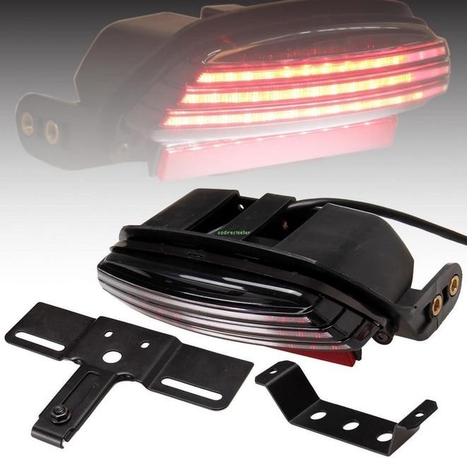 ФОТО Tri-Bar LED Fender License Plate Bracket Brake Rear Taillight For Harley Softail