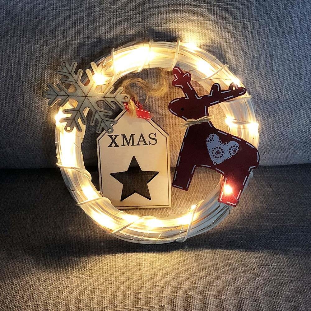 DIY Rattan Wreaths String Lights Lamp Christmas Door Wall ...