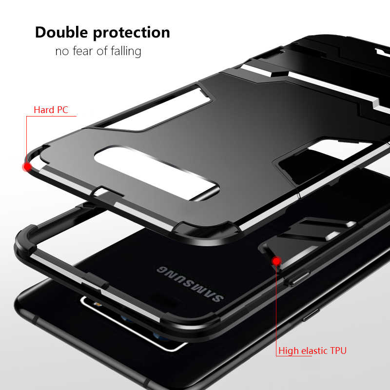 Anti - knock สำหรับ samsung S10 กรณี Hard Stand Back ฝาครอบสำหรับ samsung S10 S10Plus S10 lite กันชนโทรศัพท์กรณี