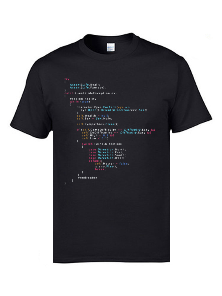 Colored Code Programming JS Men T Shirts Senior IT Engineer SCJP Programmer 100% Cotton Tee Shirts Keyboardman Workday