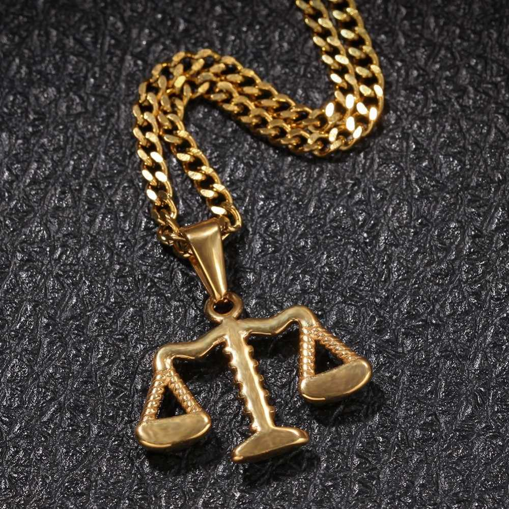 UWIN złota balans kolorów kształt naszyjnik wisiorek ze stali nierdzewnej Hiphop biżuteria łańcuchy dla mężczyzn kobiety moda wisiorki prezenty