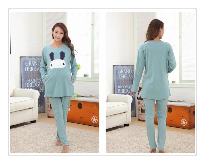 Cartoon rabbit Maternity Nurseing Pajamas (11)