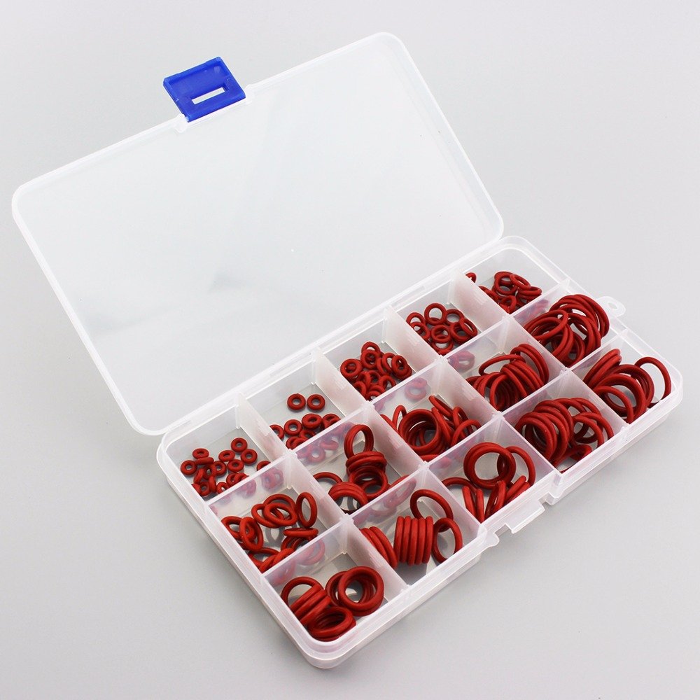 225PCS/1BOX PCP Paintball O-ring Red Gasket Replacements Durable Socket Silicone Sealing O-rings Quick Couplers Fitting 15 Sizes