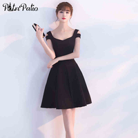 PotN Patio V Neck Sleeveless Black Cocktail Dresses 2017 Evening Party Elegant Special Occasion Dresses