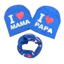 2PCS High Quality Cotton Toddler Kid Girls Boys Baby I Love papa mama Winter Warm Crochet