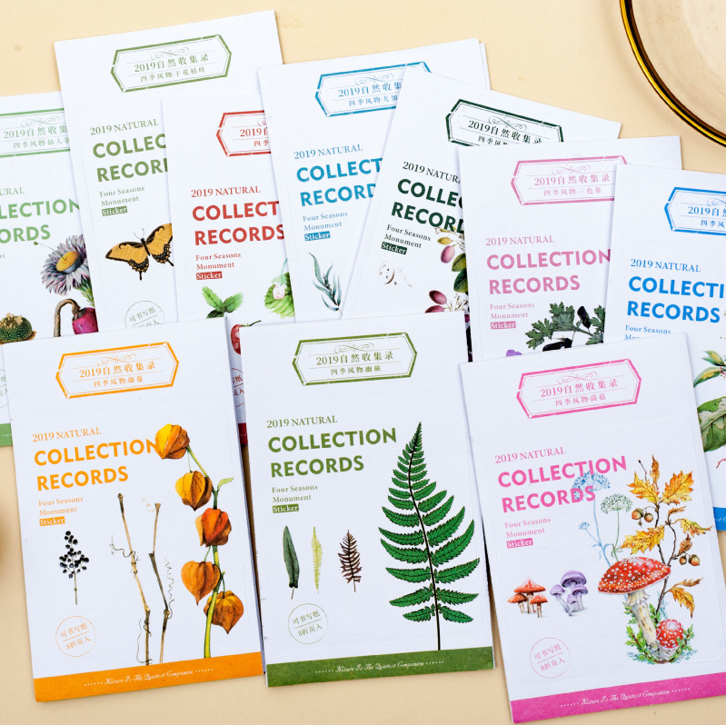 8sheets/1set Stickers Natural Collection Diary Planner Decorative Mobile Stickers Stationery Scrapbo