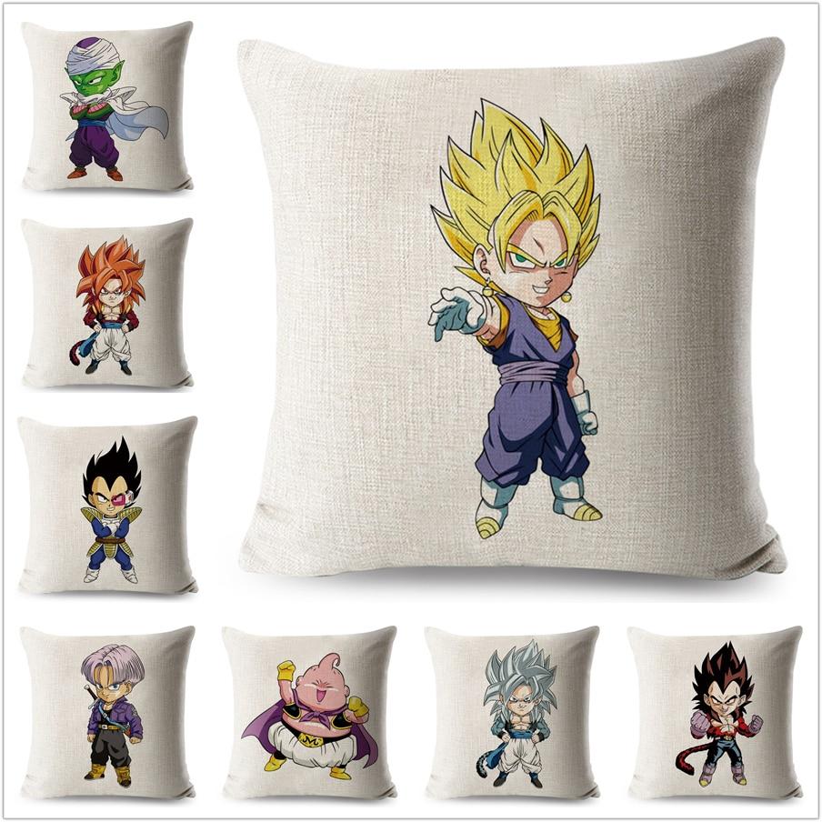 Cute Dragon Ball Super Saiyan Cushion Cover for Sofa Home Pillow Case Cartoon Linen 45*45 Decorative Printed Throw Pillowcase