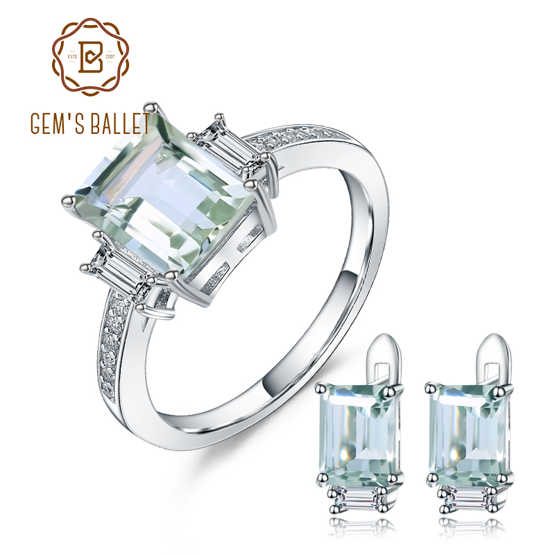 GEM S BALLET 925 Sterling Silver Jewelry Set For Women Natural Octagon Green Amethyst Earrings Ring
