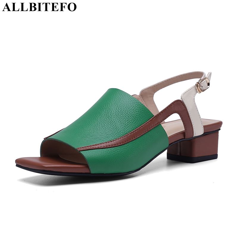 ALLBITEFO full genuine leather thick heel women sandals high quality women high heel shoes summer beach