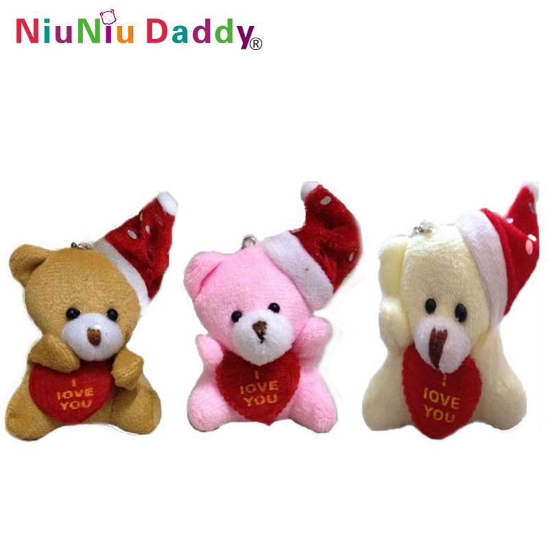 5 cm felpa Navidad oso con corazón te amo oso 3 colores juguetes de ...