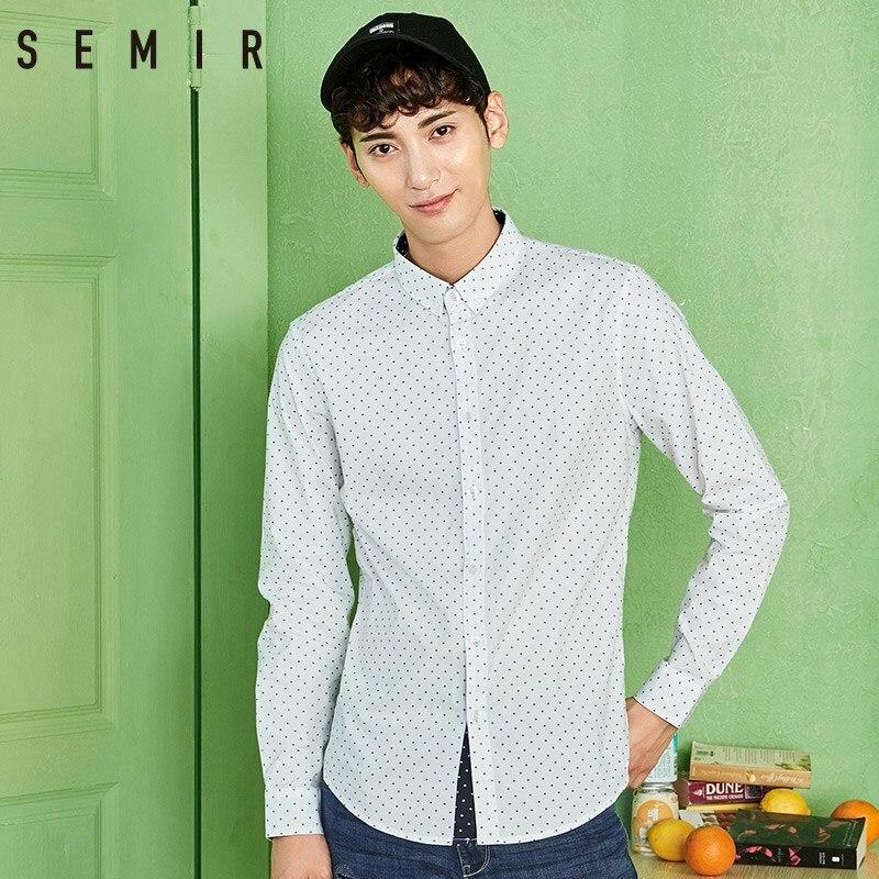 0431faf6f Camiseta de manga larga de SEMIR con solapa de lunares para hombre Camisas  informales de negocios ...