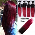 4 bundles Straight hair Weave bundles with 1 closure 7A best quality Brazilian Silky Straight ombre hair Bundles T1b/burgundy