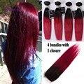 4 pacotes de cabelo Liso Weave bundles com 1 fechamento 7A melhor qualidade Brasileira Feixes de cabelo Reto de seda ombre T1b/borgonha