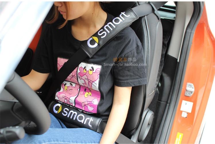 Embroidery Pink on Black Seat Belt Cover Shoulder Pad Pair set for Mercedes-Benz