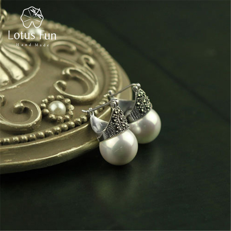 Lotus Fun Real 925 Sterling Silver Natural Handmade Designer Fine Jewelry Vintage Fashion Drop Earrings for