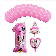 1set mickey mouse minnie foil balloons  number 1 mini cake globos baby shower birthday party decoration kids toy