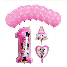 1set mickey mouse minnie foil balloons number 1 foil balloons mini cake globos baby shower birthday party decoration kids toy(China)