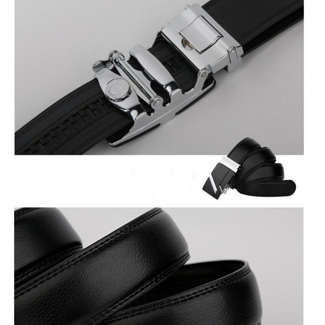 Leather Strap Male Automatic Buckle Belts 3