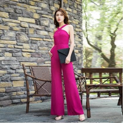 2017 Sexy Summer Jumpsuit Party Bohemian Overalls Rompers Chiffon Elegant Rose Red Full Length Wide Leg Bodysuit S M L XL 2XL