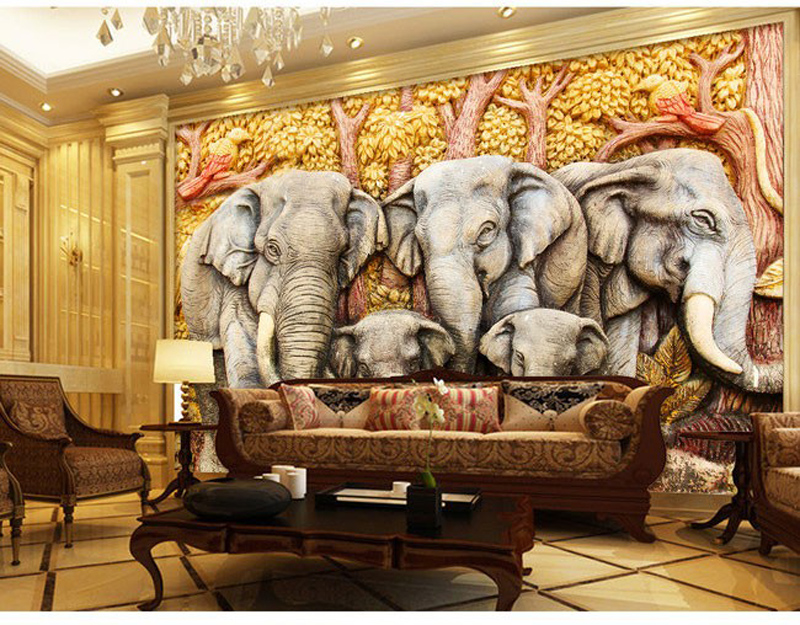 Elephant Embossed Wallpaper Bedroom Room Backdrop Painting