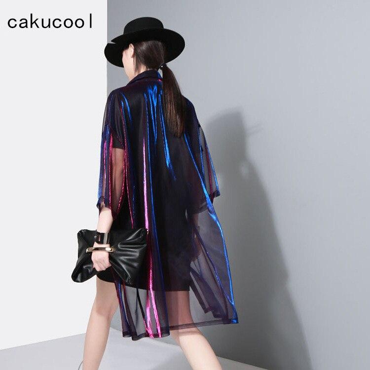 Cakucool női hálós dzseki nyári átlátszó kabátok alkalmi fél ujjú kéttónusú napellenző női vékony felsőruházat kiütés őrök