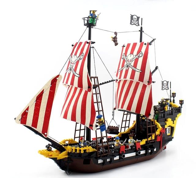 Kits de edificio modelo compatible con lego city piratas battle ship 3D modelo de construcción bloques Educativos juguetes y pasatiempos para niños