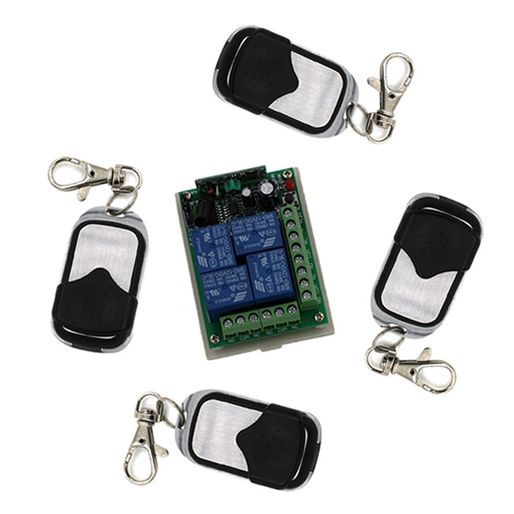 New DC 12V 24V 4CH Learning Code RF Wireless Remote Control 10A Relay Receiver with Transmitter For Lamp Window new control relay cad series cad32 cad32ndc cad 32ndc 60v dc