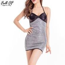 Элегантное модное женское платье с блестками без бретелек Бандажное