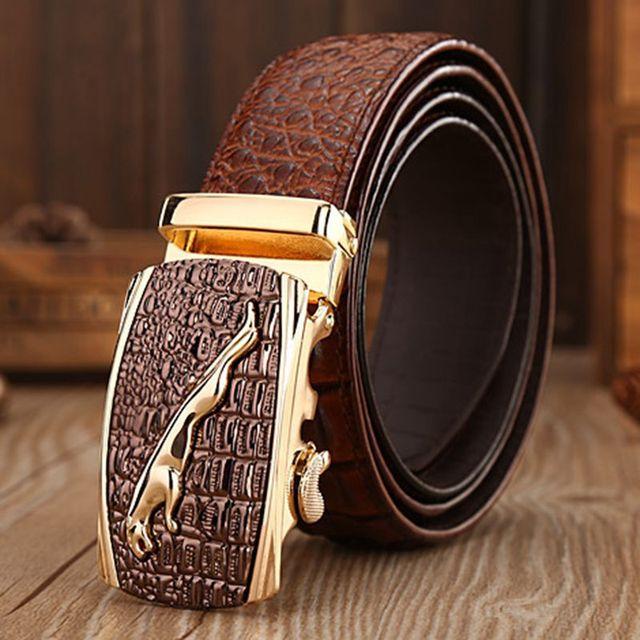 2017 new arrival real leather jaguar Crocodile style belt vogue alligator belts men designer strap size 120cm waistband jeans