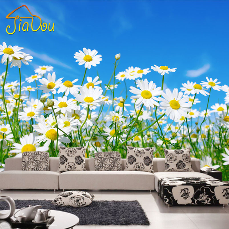 Custom photo wallpaper 3d daisy bedroom living room tv for Daisy fuentes wall mural