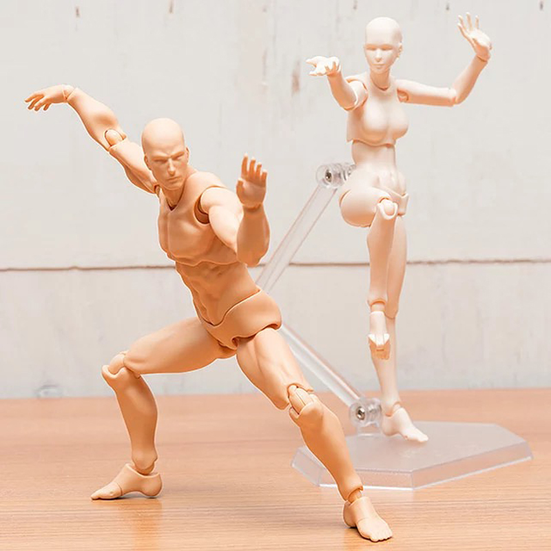 (LONSUN)12 Styles Anime Archetype He She Ferrite Figma Movable BODY KUN BODY CHAN PVC Action Figure For Collectible Model Toys 2017 anime body kun body chan movable action figure model toys anime mannequin bjd art sketch draw collectible model toy