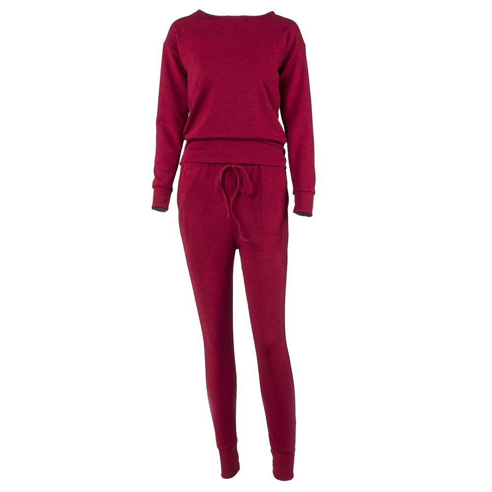 Women Fashion Warm Round Neck Top Drawstring Casual Sport Suit Sweatshirt