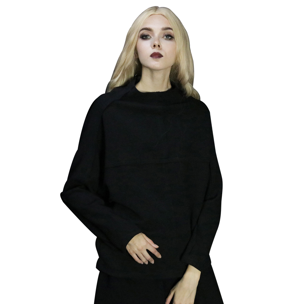 Black Tide Sleeves necked Pure Bark High Hatless Top 2018 Style Pattern Gothic Bat New Casual Head Women's cq876F