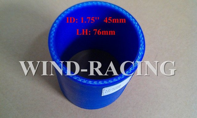 """INTERCOOLER 1.75"""" 3-PLY UNIVERSAL BLUE STRAIGHT SILICONE COUPLER HOSE INTAKE/TURBO PIPING"""