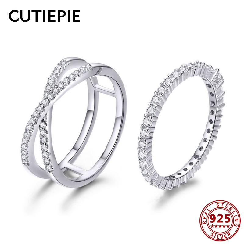 Cutiepie 2Pcs Actual 925 Sterling Silver Rings For Girls Engagement Wedding ceremony Luxurious Cz Silver Lovers Couple Ring Presents Anniversary
