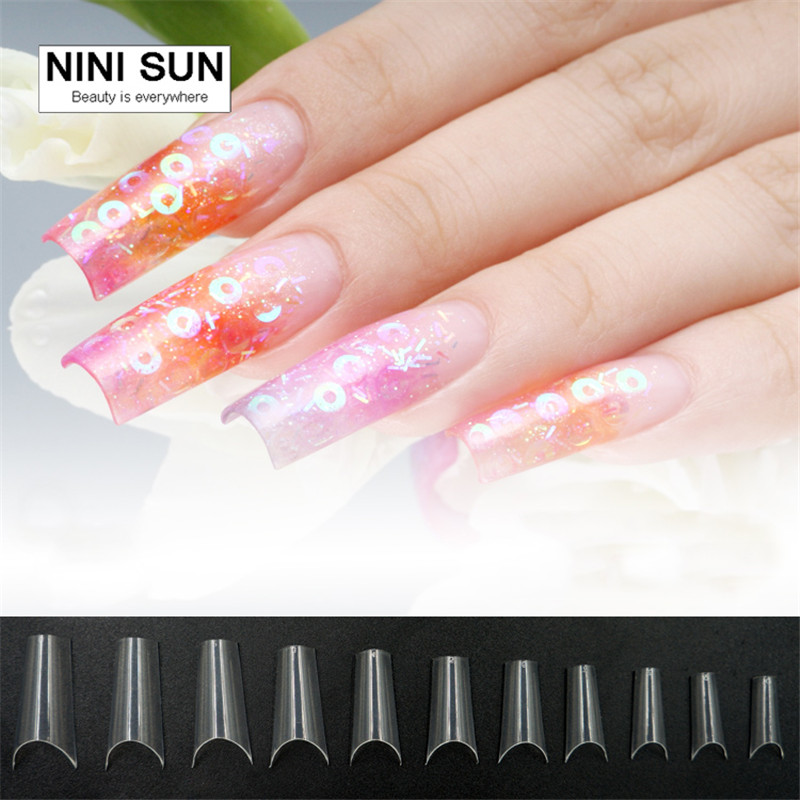 Curved Nail Tips Completely Bend Salon Faux Ongles French Manicure ...