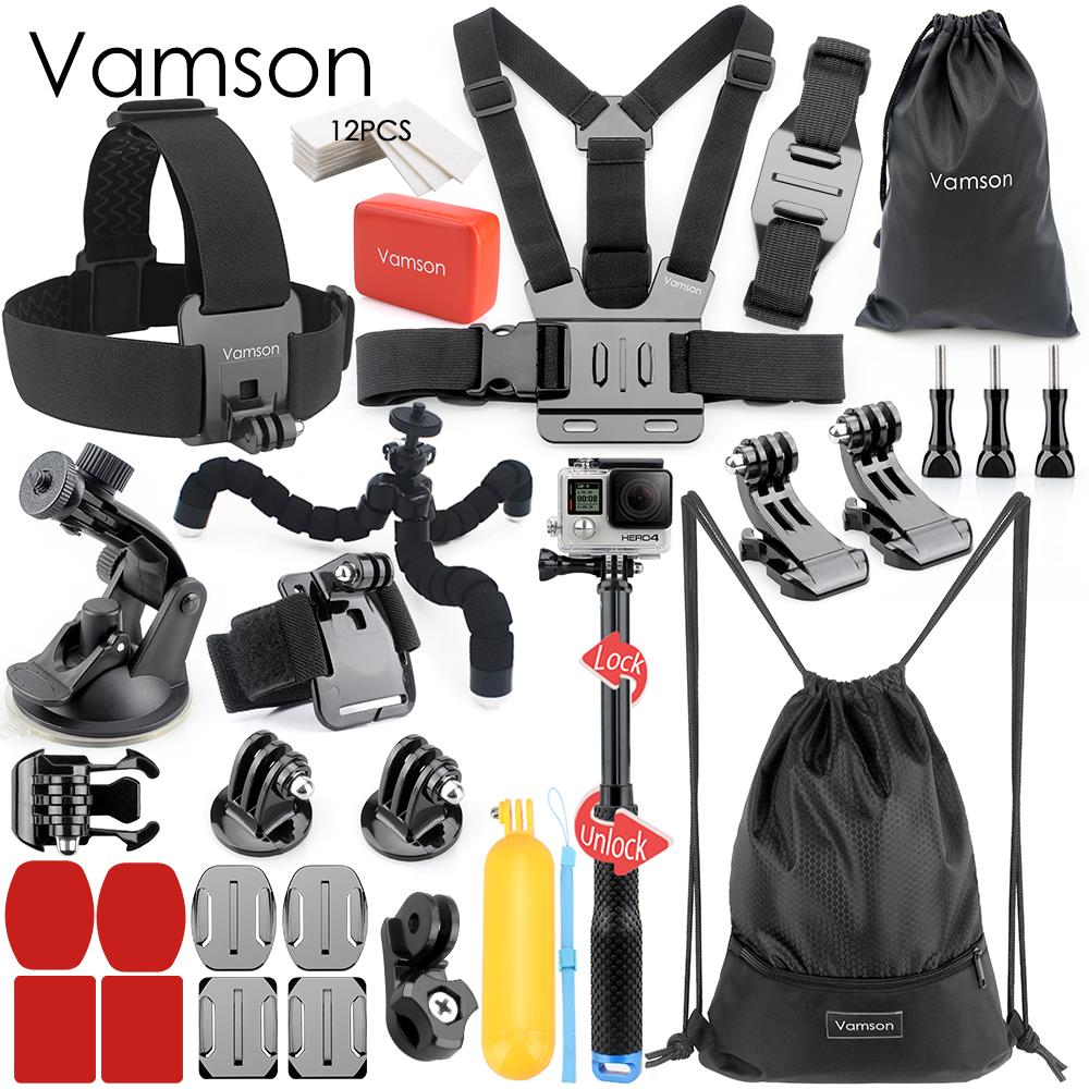 Vamson for Gopro hero 7 6 5 accessories set for gopro kit mount for SJ4000 hero 4 3 2 Black for SJCAM M10 for SJ5000 case VS74 bz j shape fast assembling mount buckle w screw for gopro hero 2 3 3 orange