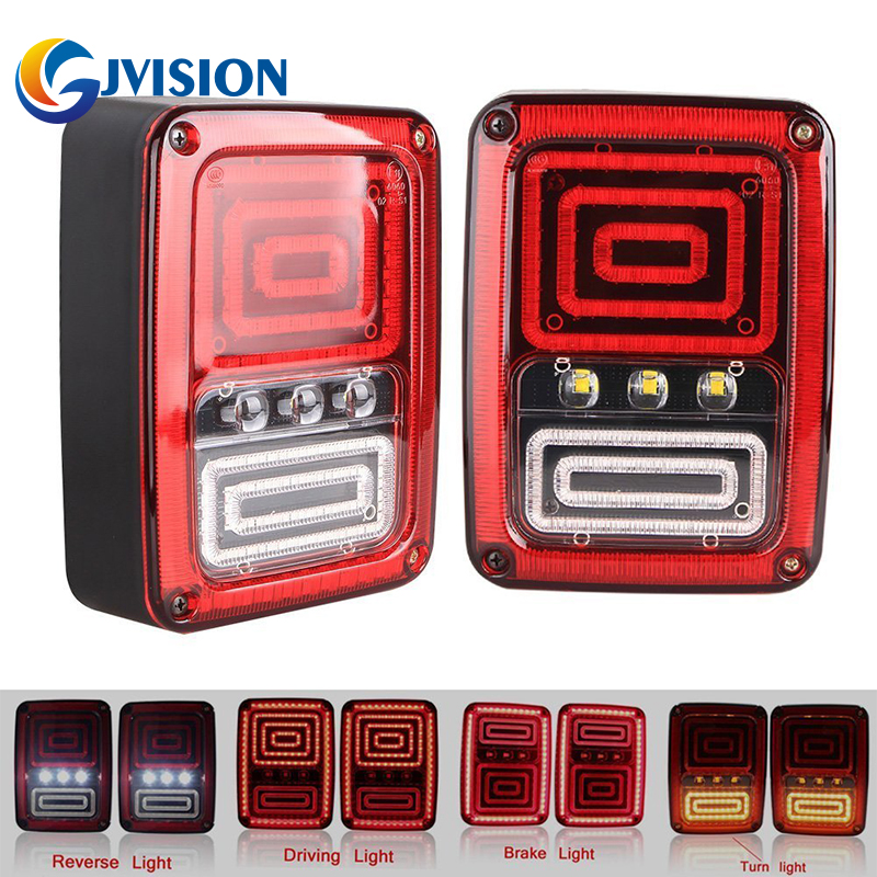 For Jeep Wrangler JK 2007-2015 LED Tail Lights LED Rear Reversing Brake light turn signal tail light for jeep wrangler jk 2007 2016 tail light diamond smoke led tail light