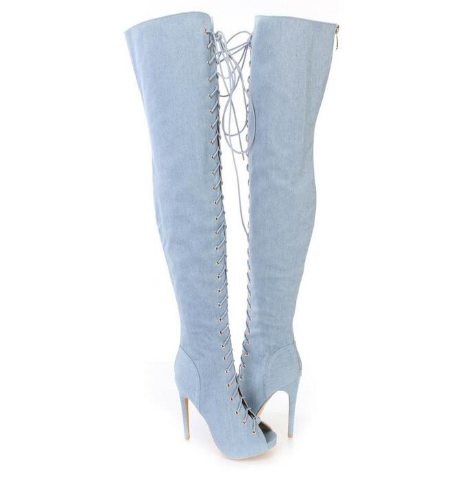 Blue Denim Women Over Knee Boots Peep Toe Lace-up Jean Tight High Summer Sandals Boots High Quality Cut-outs Big Size Drop Ship