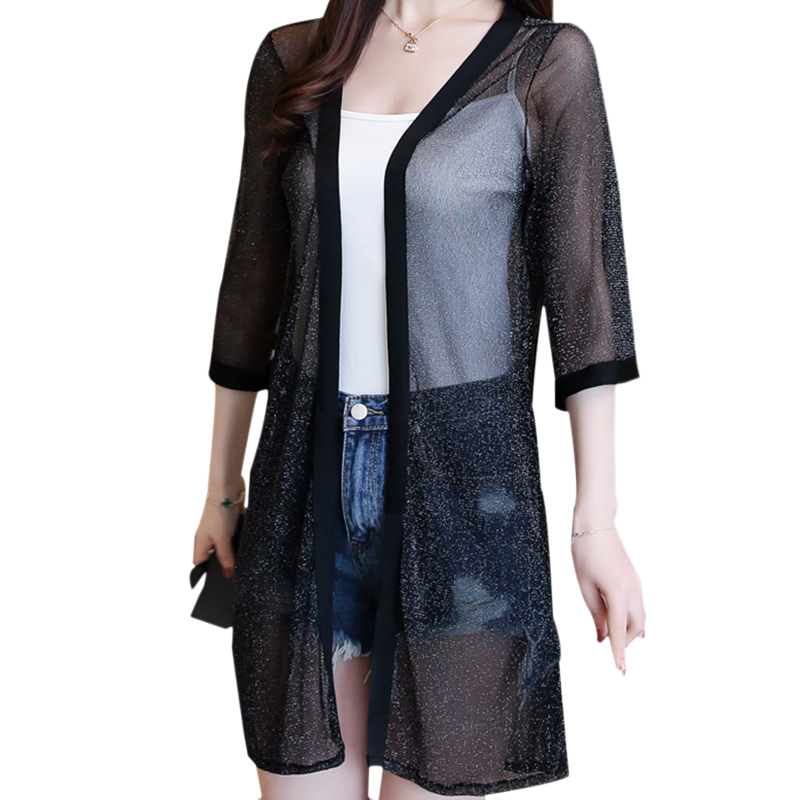 De Kimono Verano 4 Malla Transparente Solar Manga Protección Elegante Blusas black Playa Mujeres Largo Femenina Blusa Las 3 apricot Damas Pink 5I6x7Yqwtf