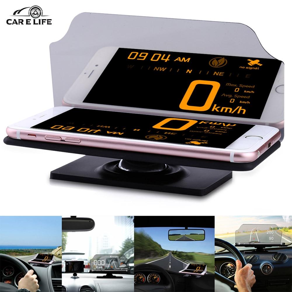 imágenes para Coche Universal HUD Heads Up Display Coches Holder Stander para IPhone Teléfono Celular de Navegación GPS Móvil Reflector Proyector de Imagen